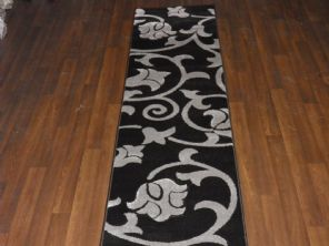 Modern Runner 60x220cm Aprox 8ft Hand Carved Super Quality Vine Black/silver New